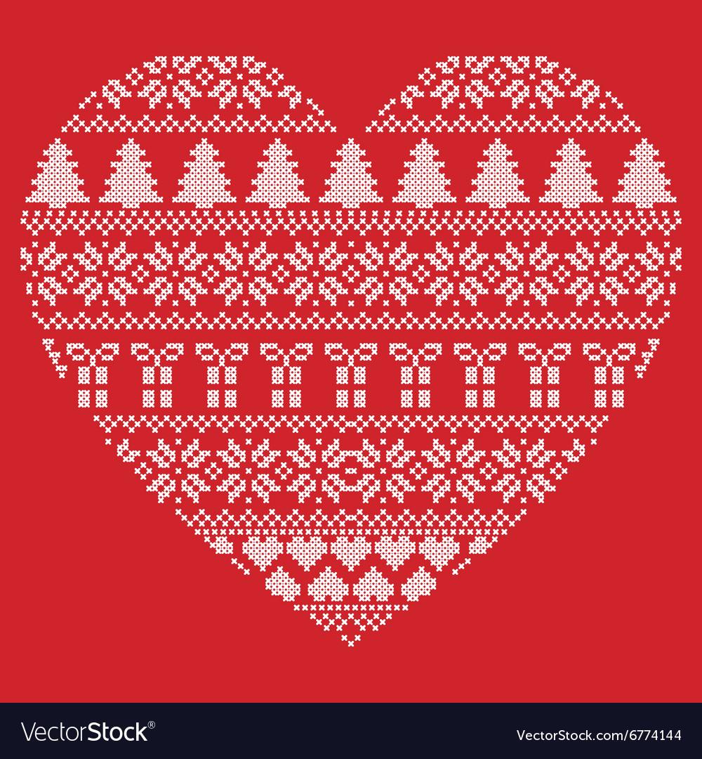 Pattern cross stitch heart shape on red background