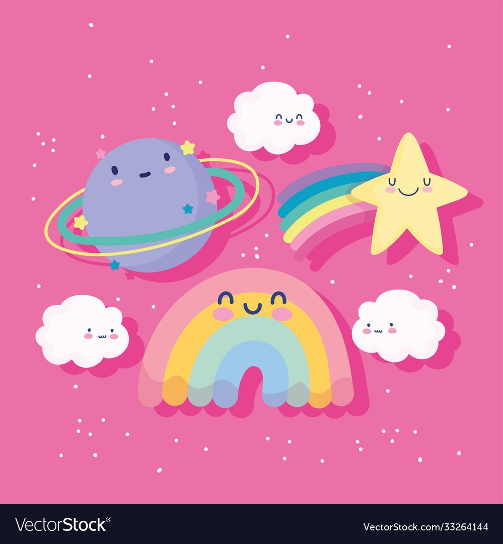 Rainbow shooting star planet clouds sky magic