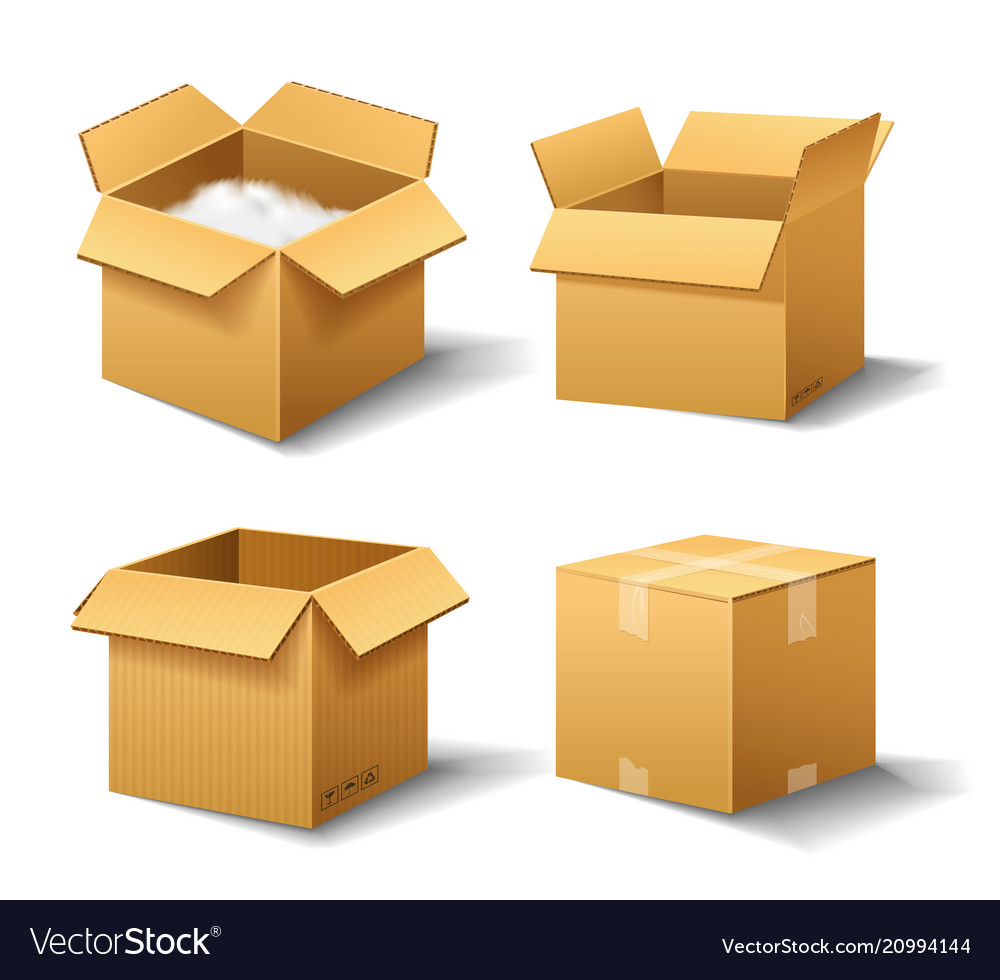 Realistic empty cardboard box opened brown