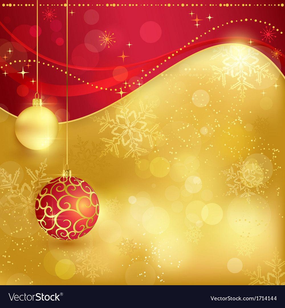 Christmas Background Images Gold.Red Golden Christmas Background With Baubles