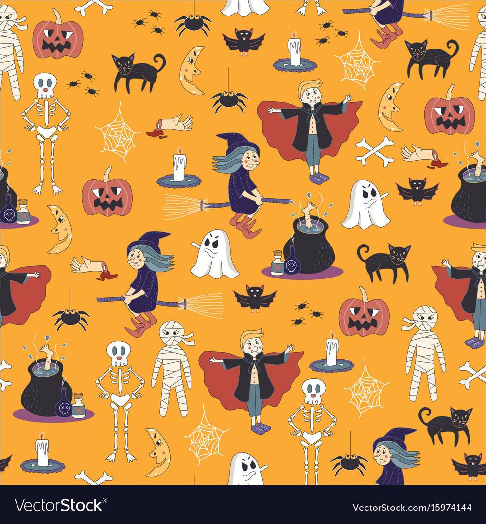 Seamless halloween ghost pattern background cute d