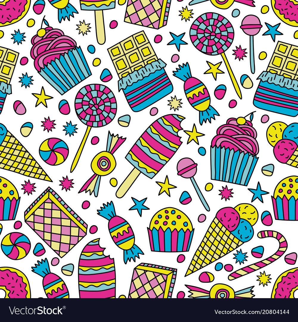 Seamless pattern with candies in doodle style