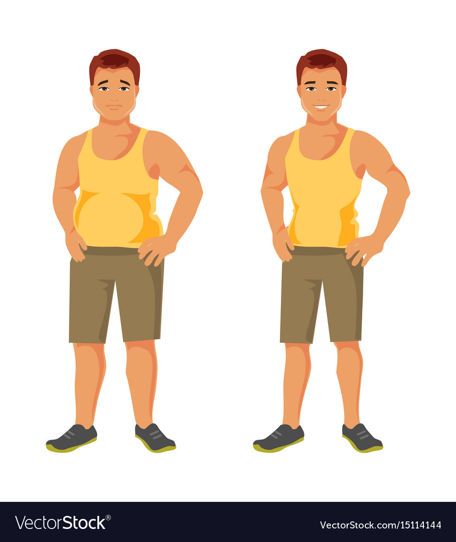 slim and fat man vector image
