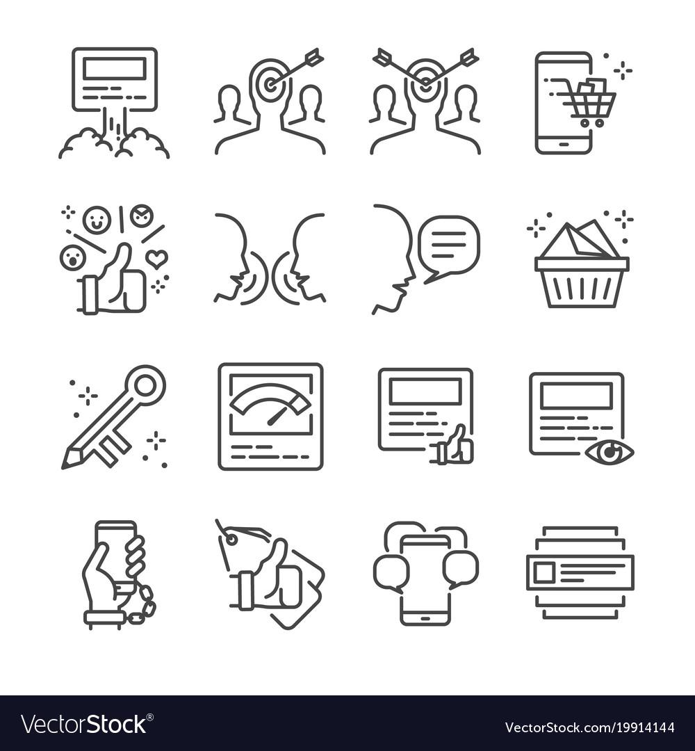 Social marketing line icon set