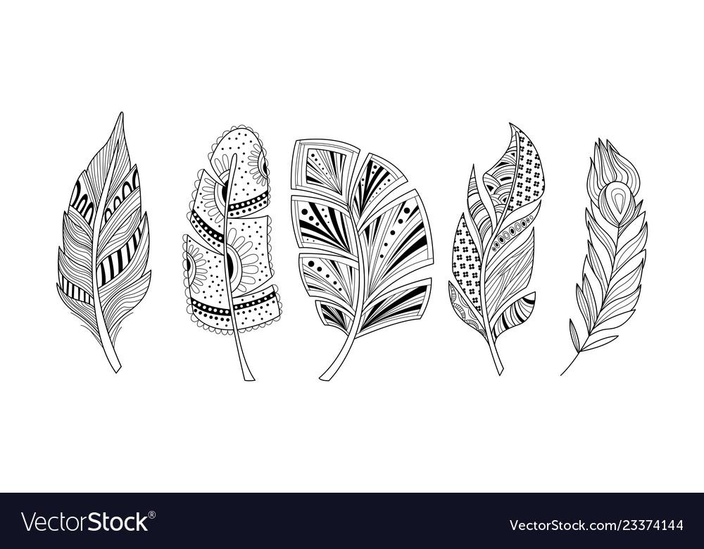 Stylized feathers set black and white tribal