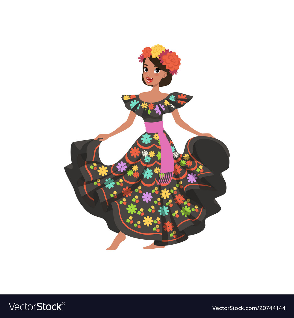 Young beautiful mexican woman in black traditional
