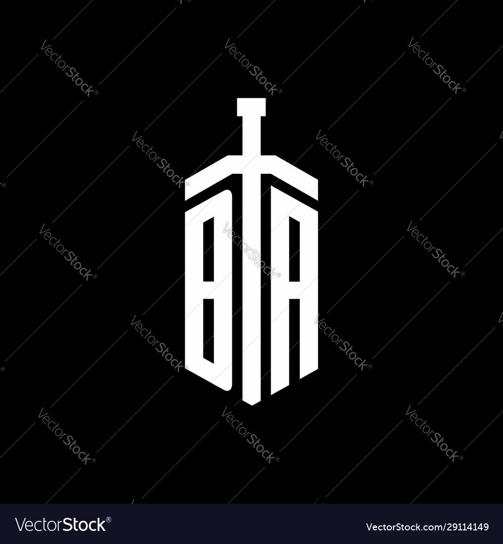 Ba logo monogram with sword element ribbon design