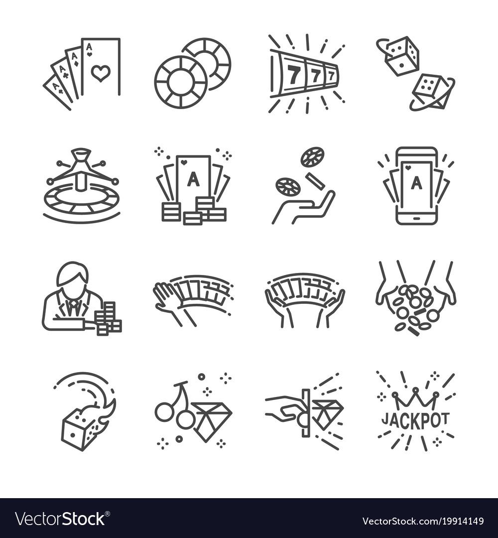 Casino and gamble line icon set