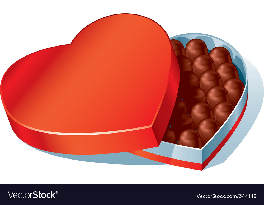 Chocolate Heart Box Royalty Free Vector Image Vectorstock