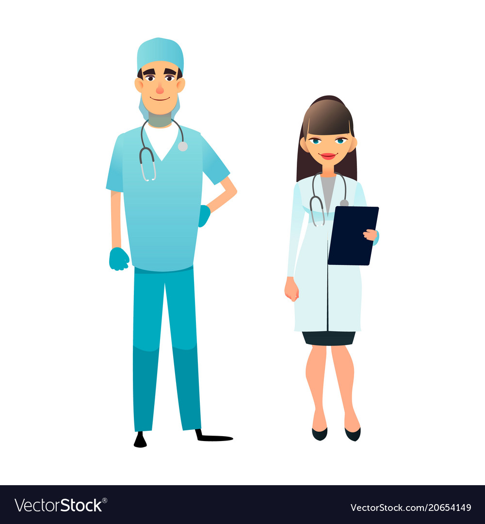 Doctor and nurse team cartoon medical staff vector image