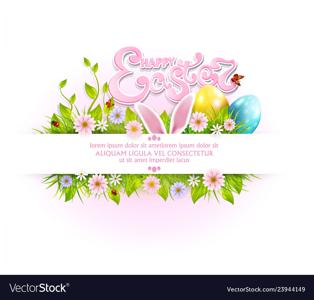 Easter background with colored eggs bunny ears