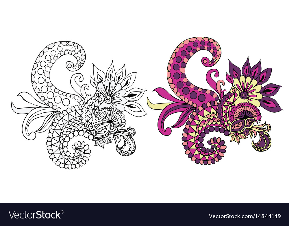 Ethnic floral doodle pattern vector image