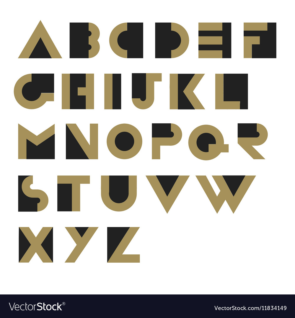 Geometric Retro Alphabet Art deco style Type font