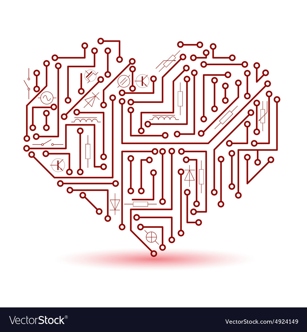 Stupendous Printed Red Electrical Circuit Board Heart Symbol Wiring 101 Swasaxxcnl