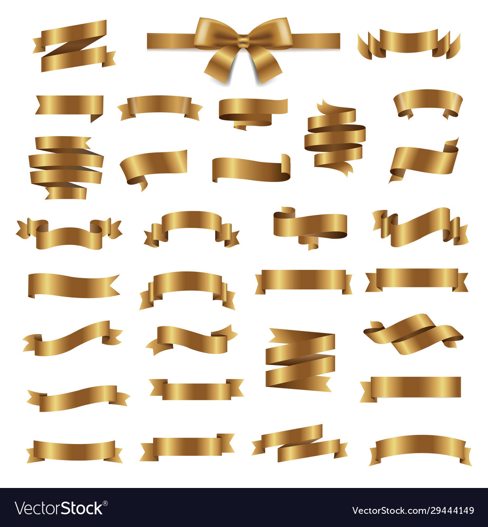 Ribbon collection isolated white background