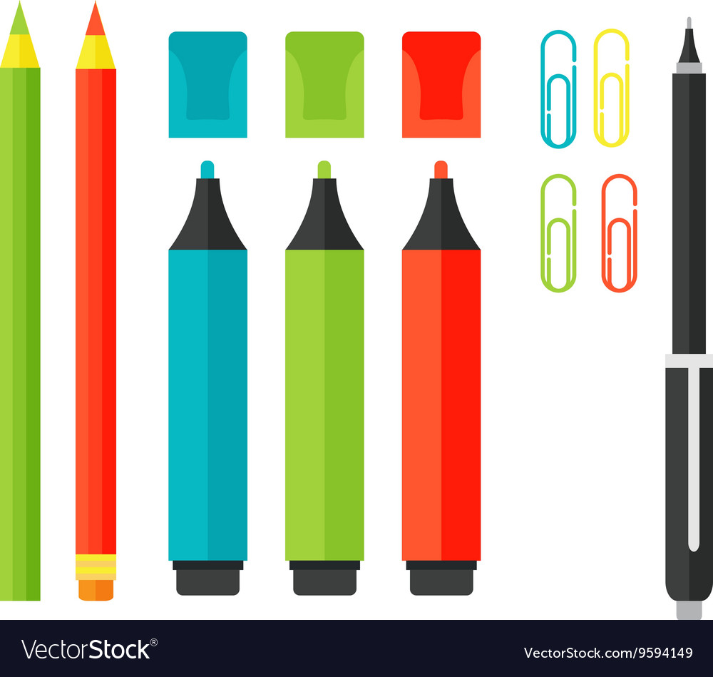 School tools supplies isolated on white