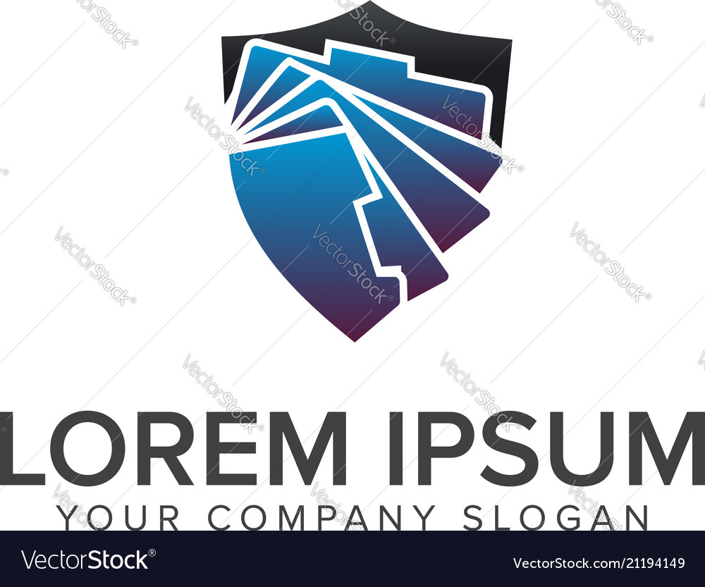 Security folder logo design concept template vector