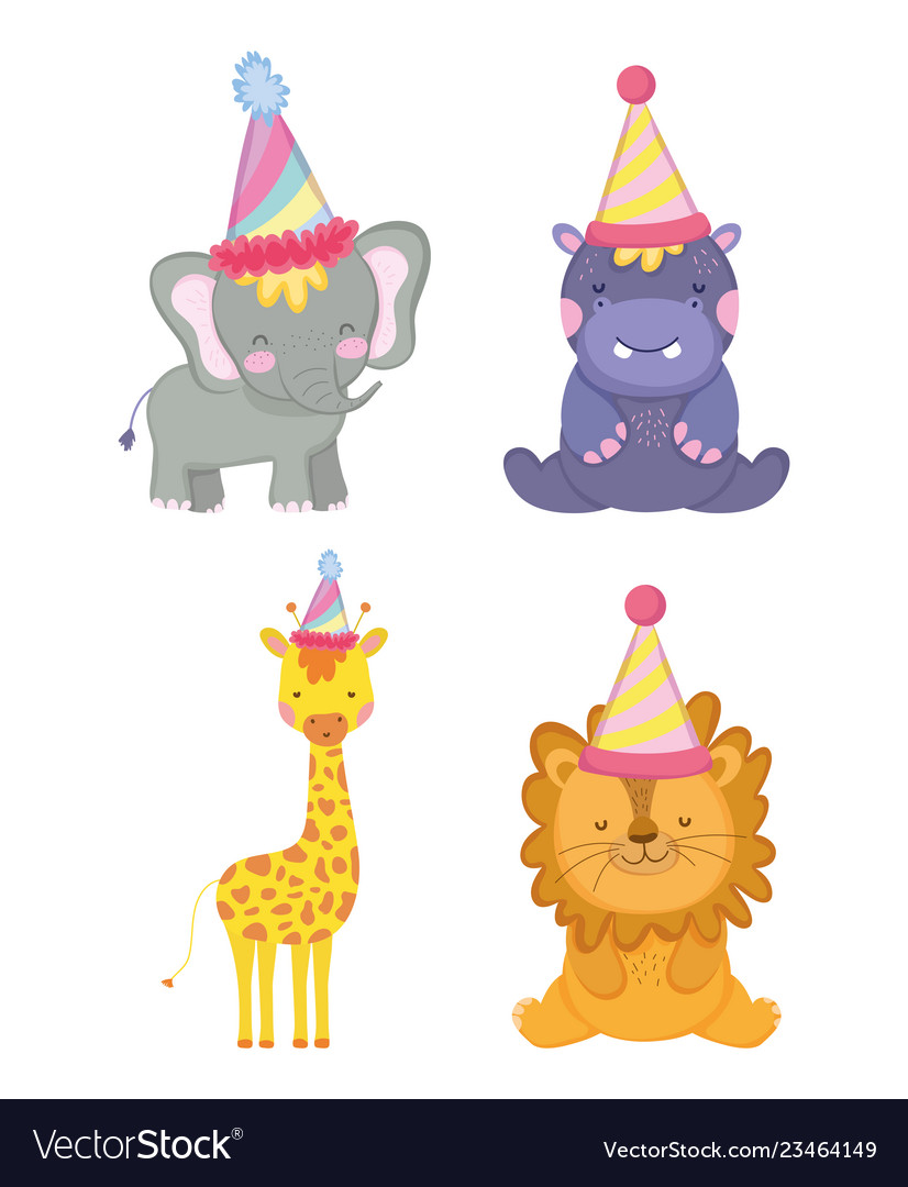 Set cute animals with party hat celebration