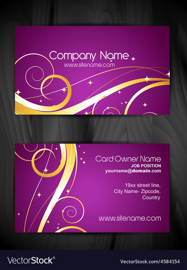 Artistic floral business card design Royalty Free Vector