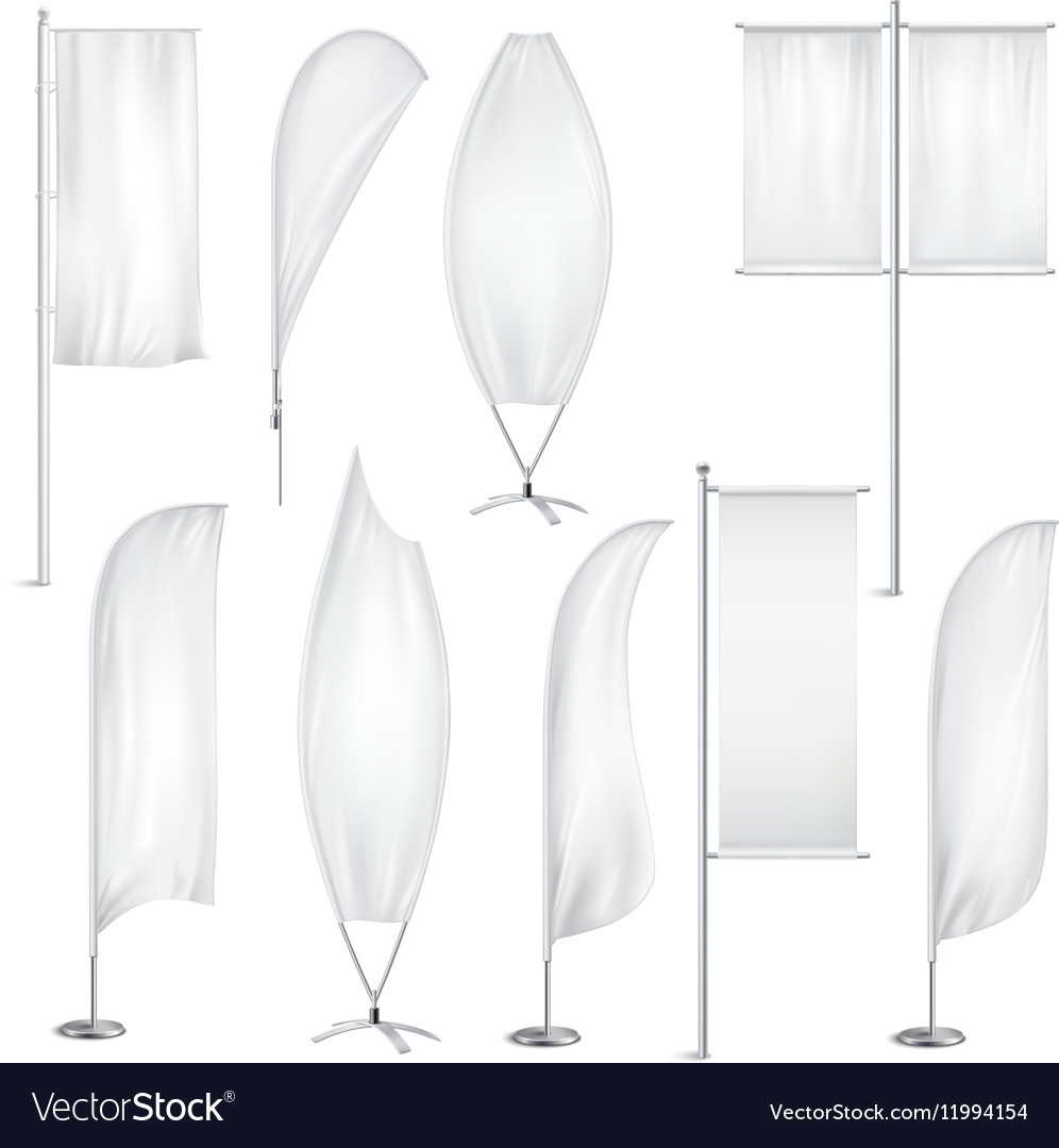 Blank White Flags Banners Realistic Set vector image