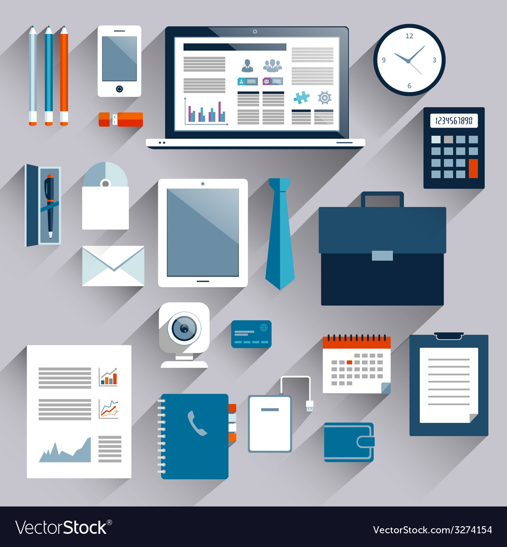 Business items set vector image