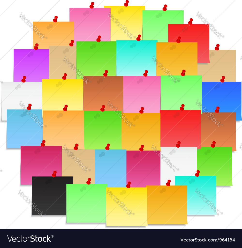 Circle made of post-it notes vector image