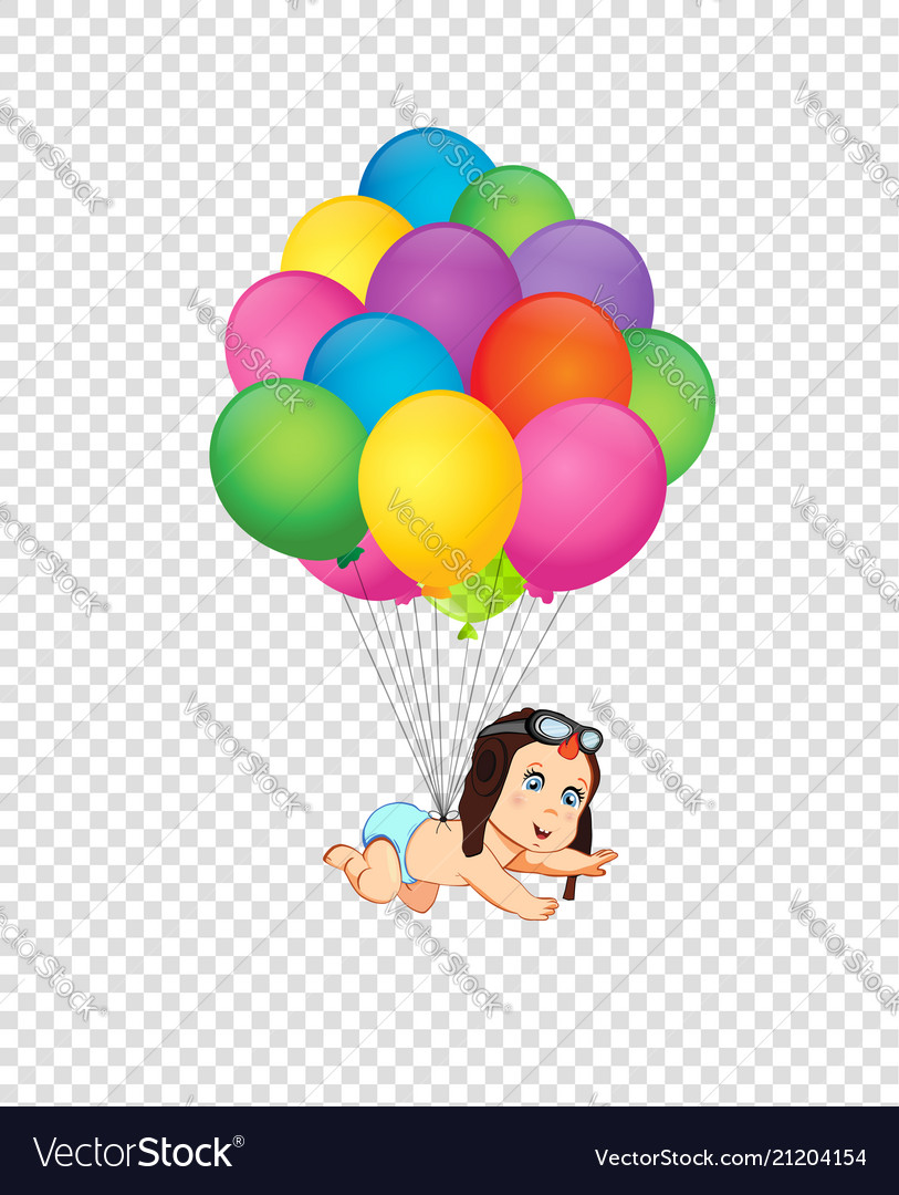 Clip art with cute baby in pilot hat falling down