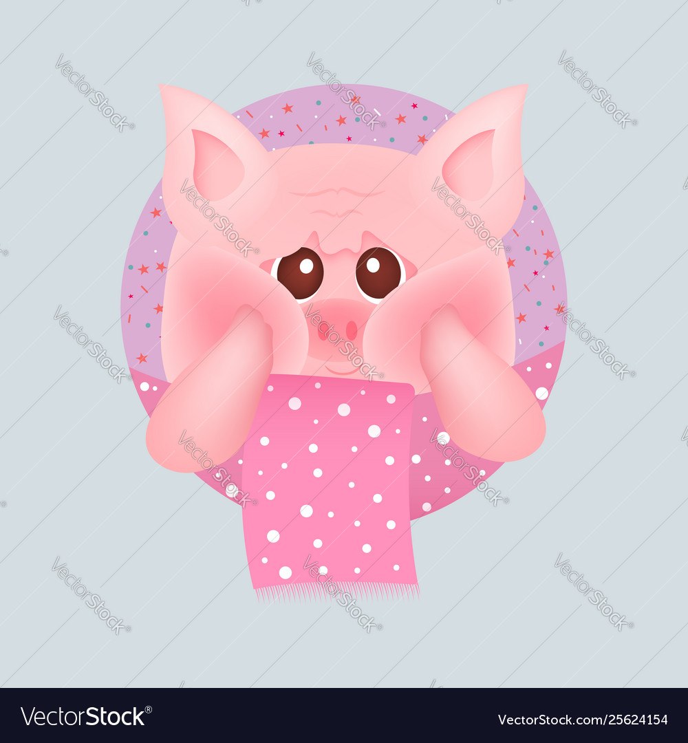Cute little pig with red cheeks with pink scarf