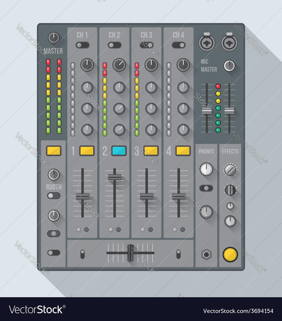 Flat style sound dj mixer