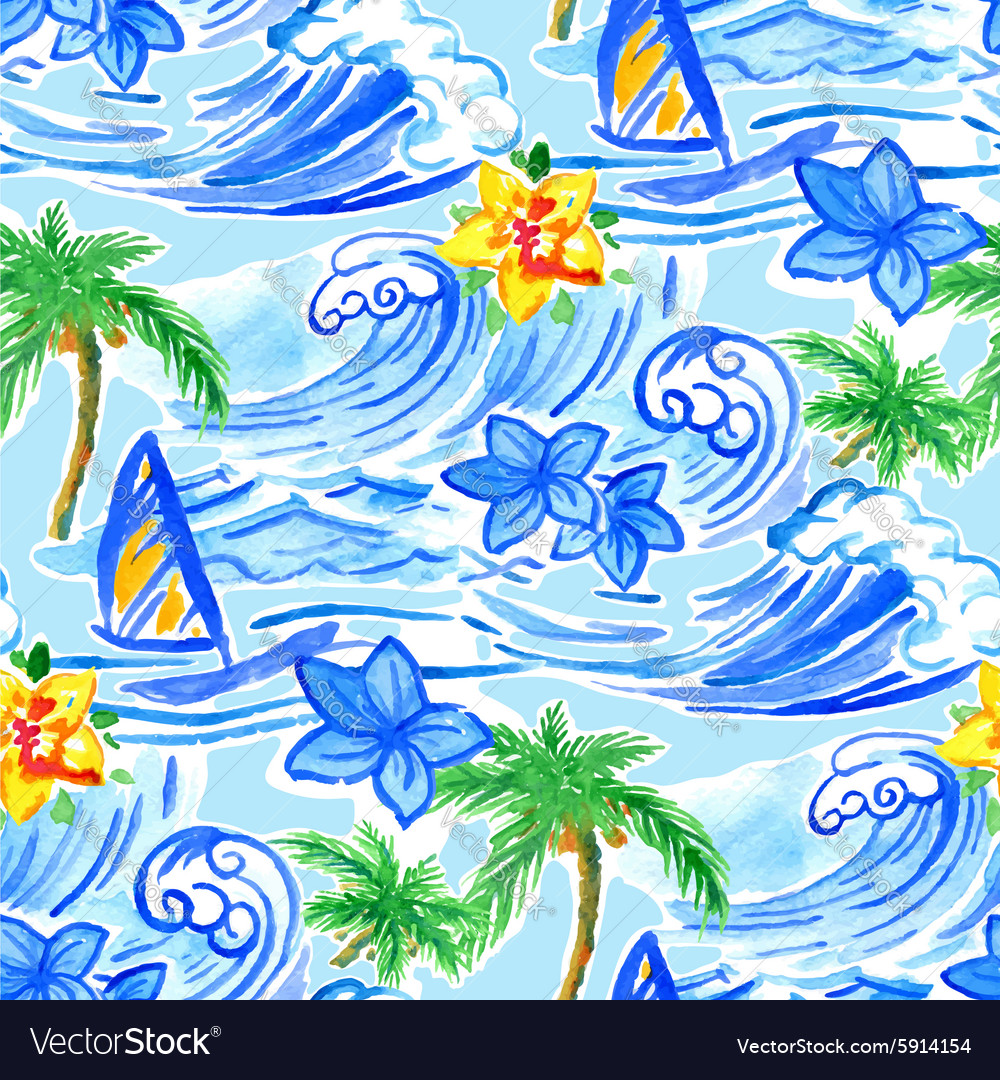Hawaiian waves seamless pattern