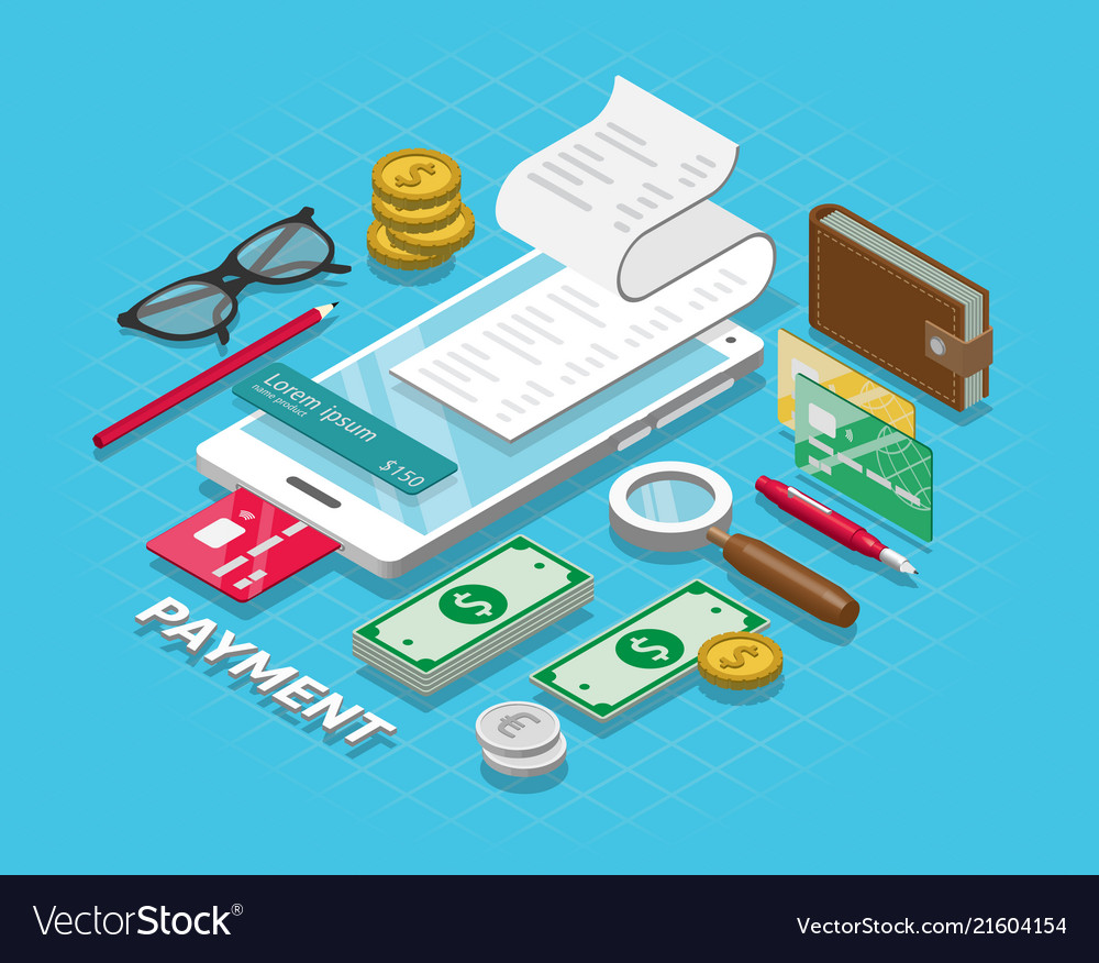 Isometric online payment online concept internet