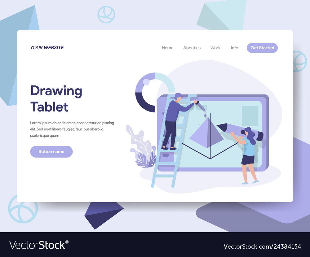 Landing page template of drawing tablet concept