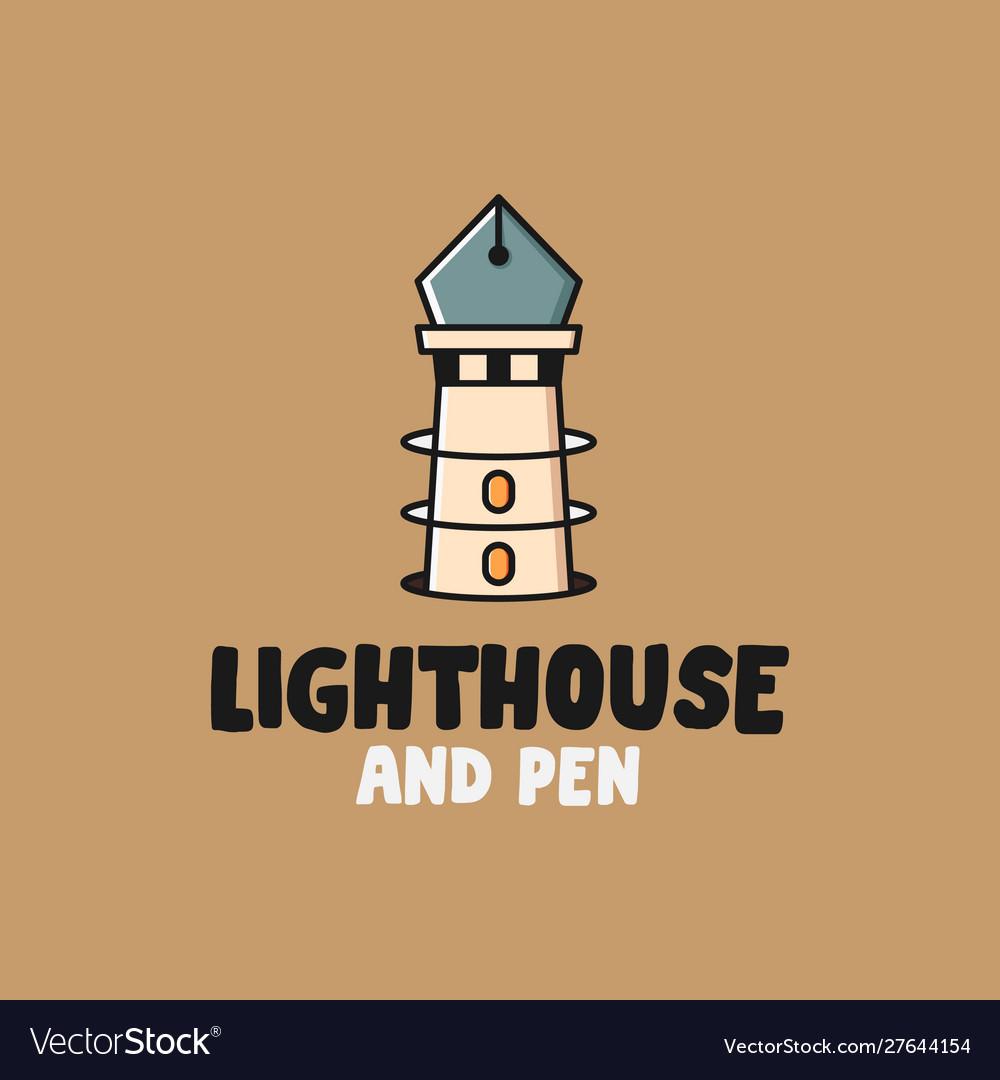 Lighthouse and pen logo design inspiration