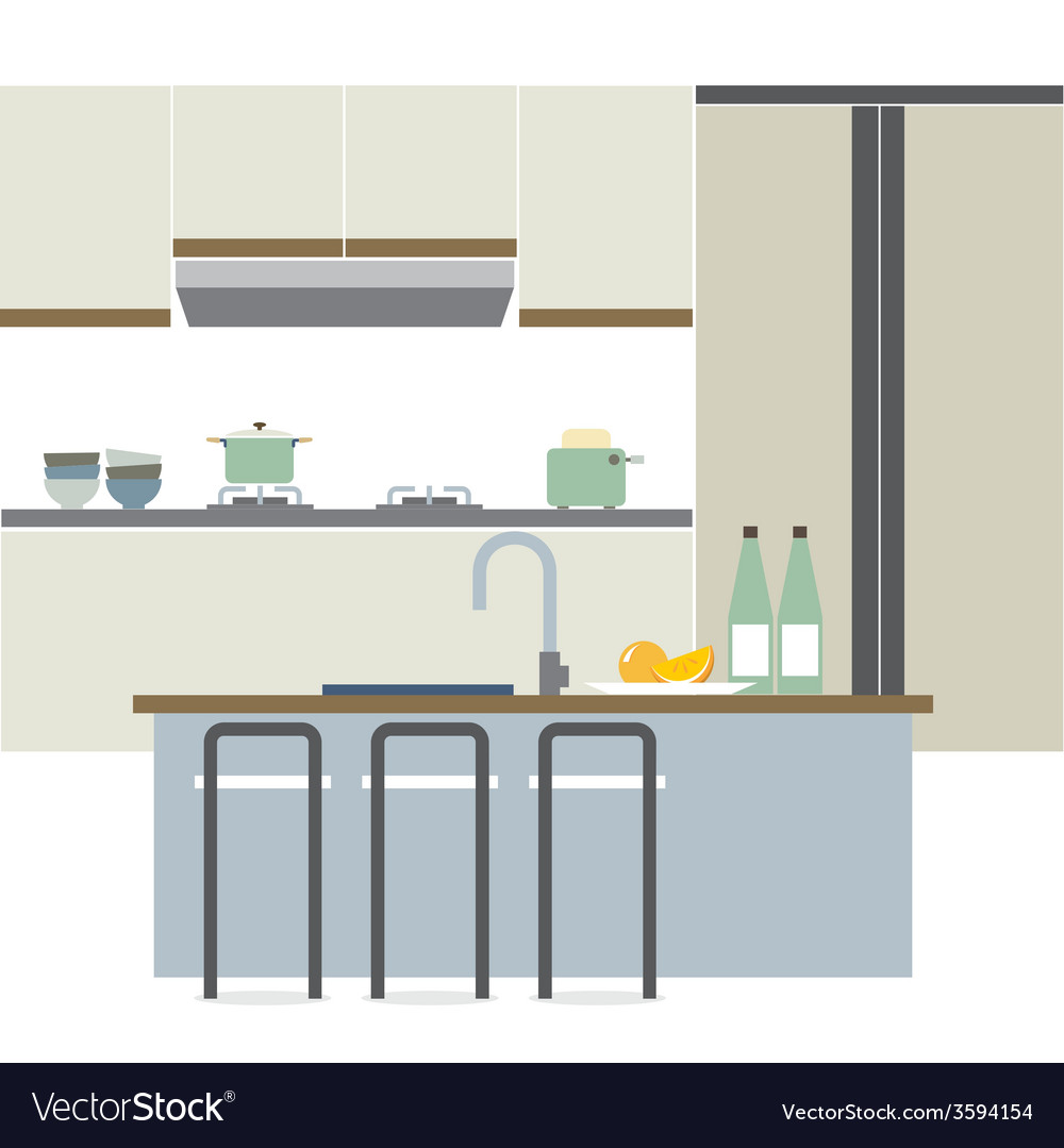 Modern Flat Design Kitchen Interior Royalty Free Vector
