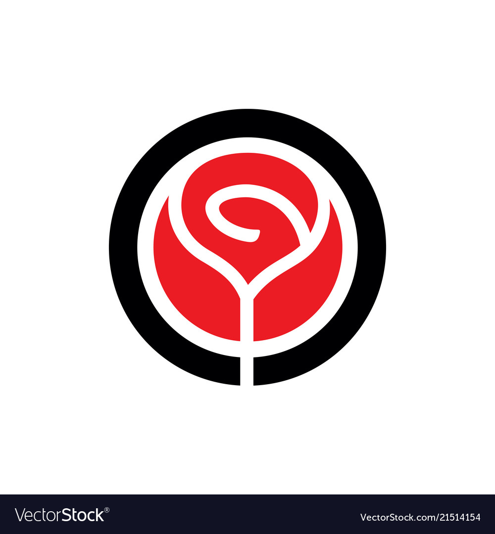 Red Rose Flower Logo Icon Royalty Free Vector Image