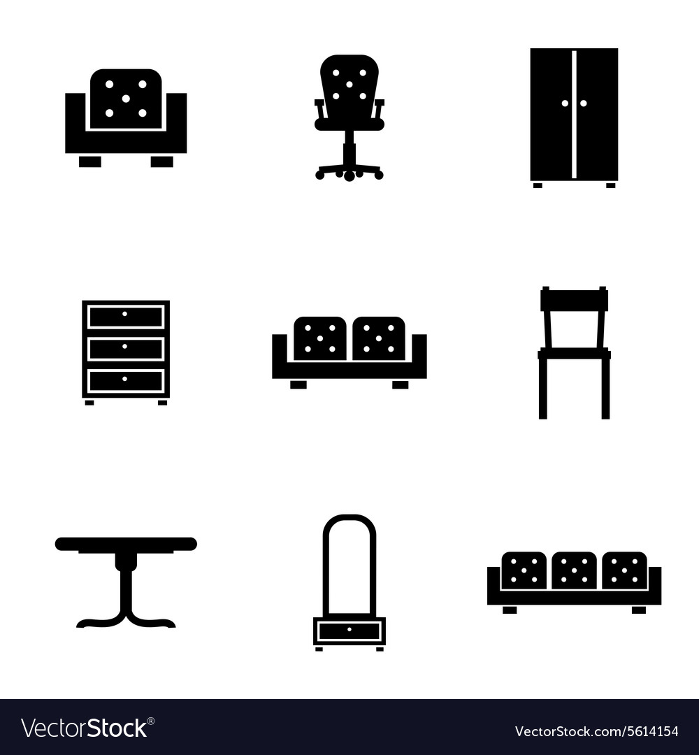 Set of furniture icons silhouettes in black
