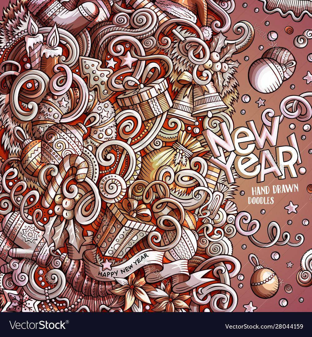 Cartoon cute doodles happy new year monochrome