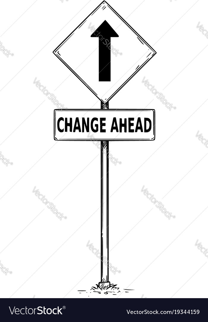 Drawing of one way arrow traffic sign with change