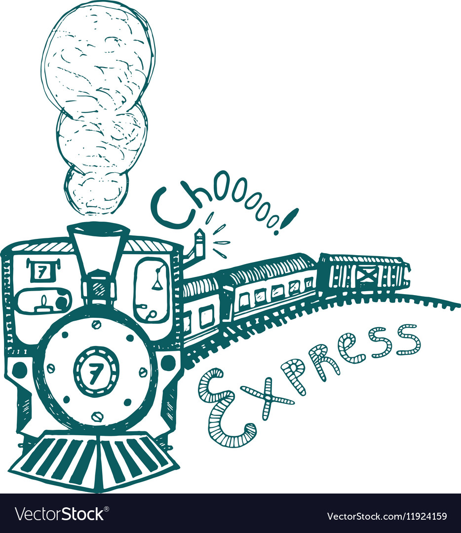 Express Steam Train Print For Kids Royalty Free Vector Image