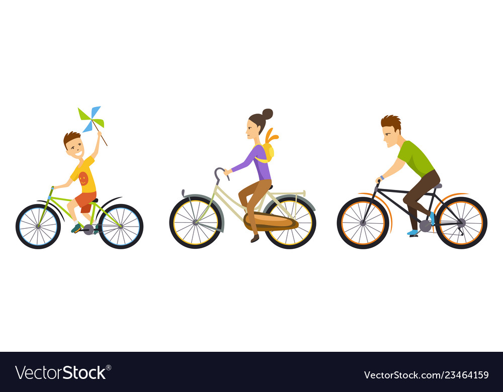 Happy family cycling along the road in natural