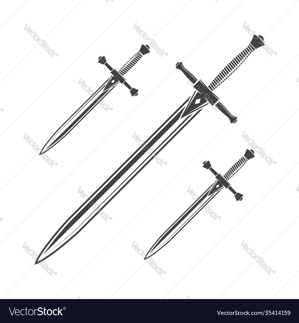 Knife dagger and sword isolated on white