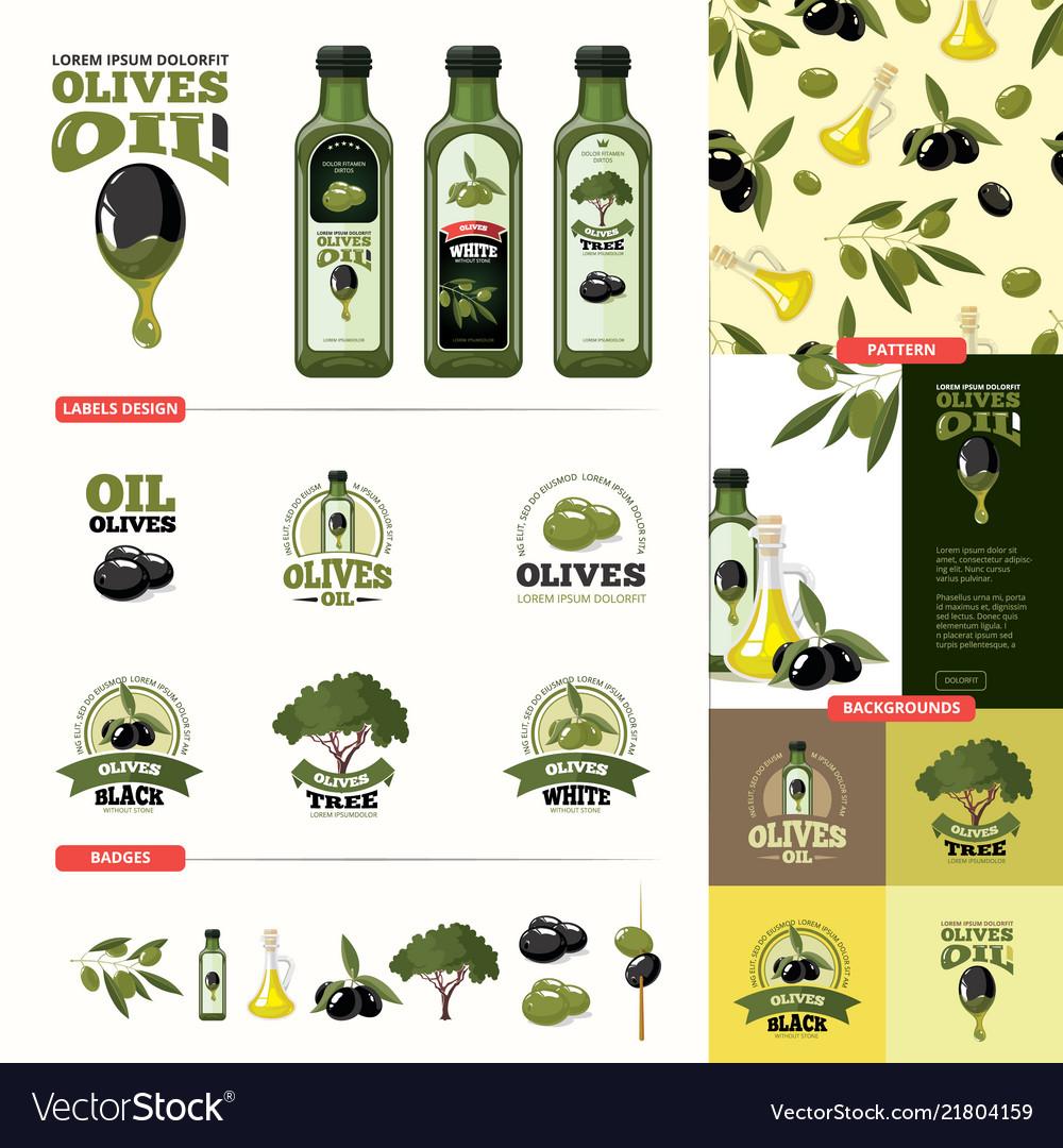 Olive cartoon set black and green olives