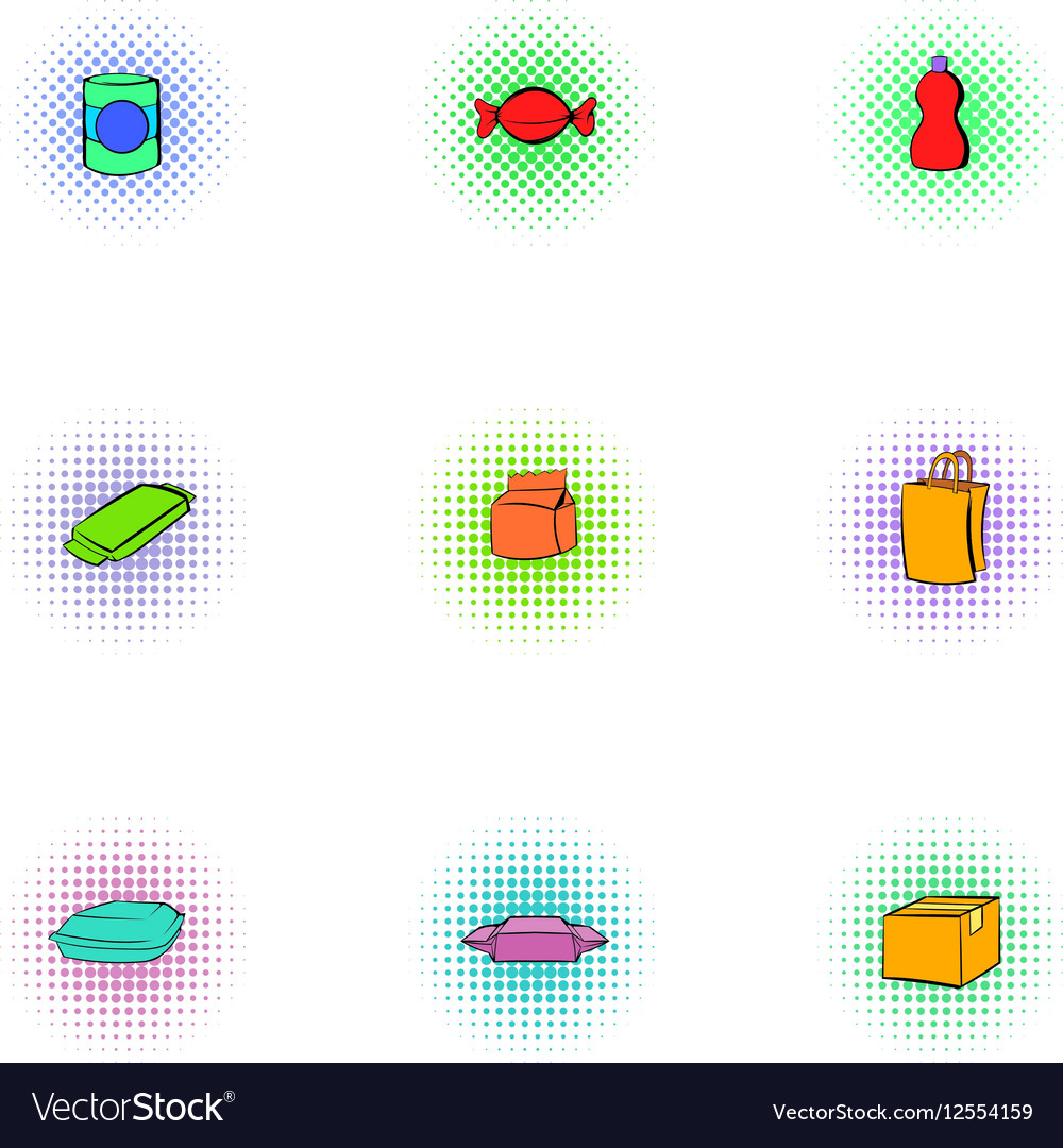 Packaging icons set pop-art style vector image
