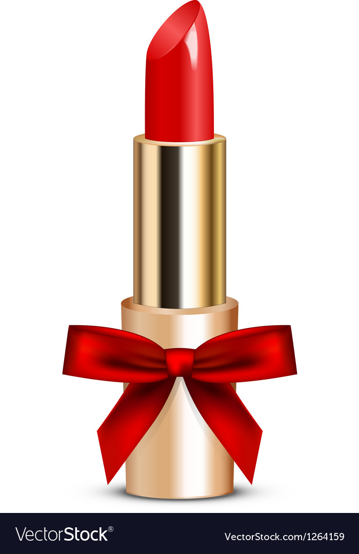 Red lipstick with bow