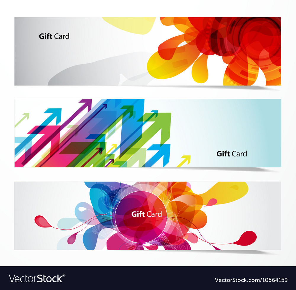Set of gift cards with arrows and abstract objects