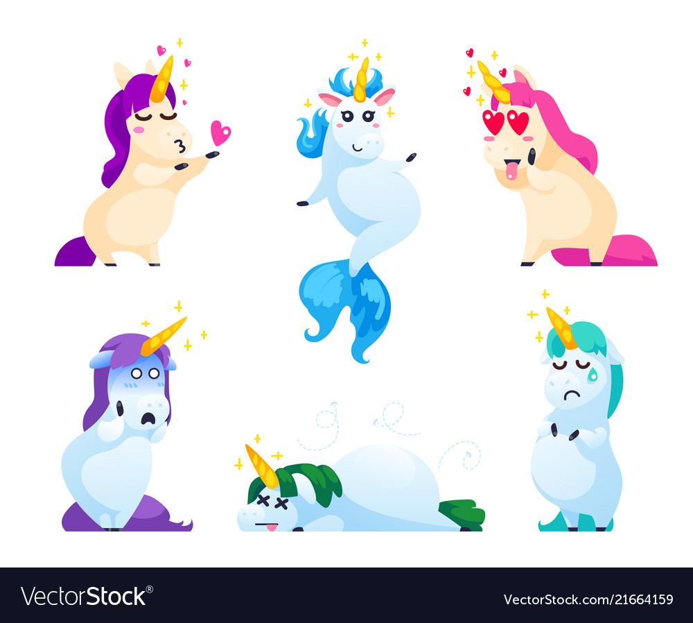 Set of unicorns isolated on white background