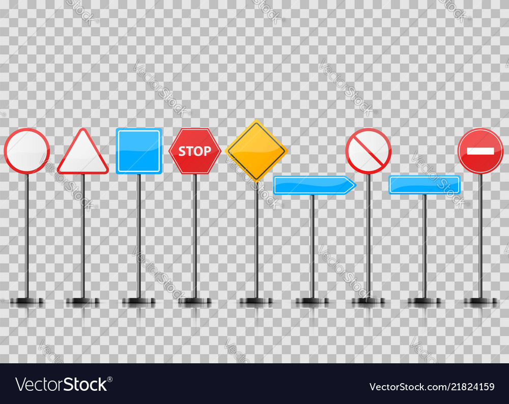 Set realistic road sign stop circle triangle
