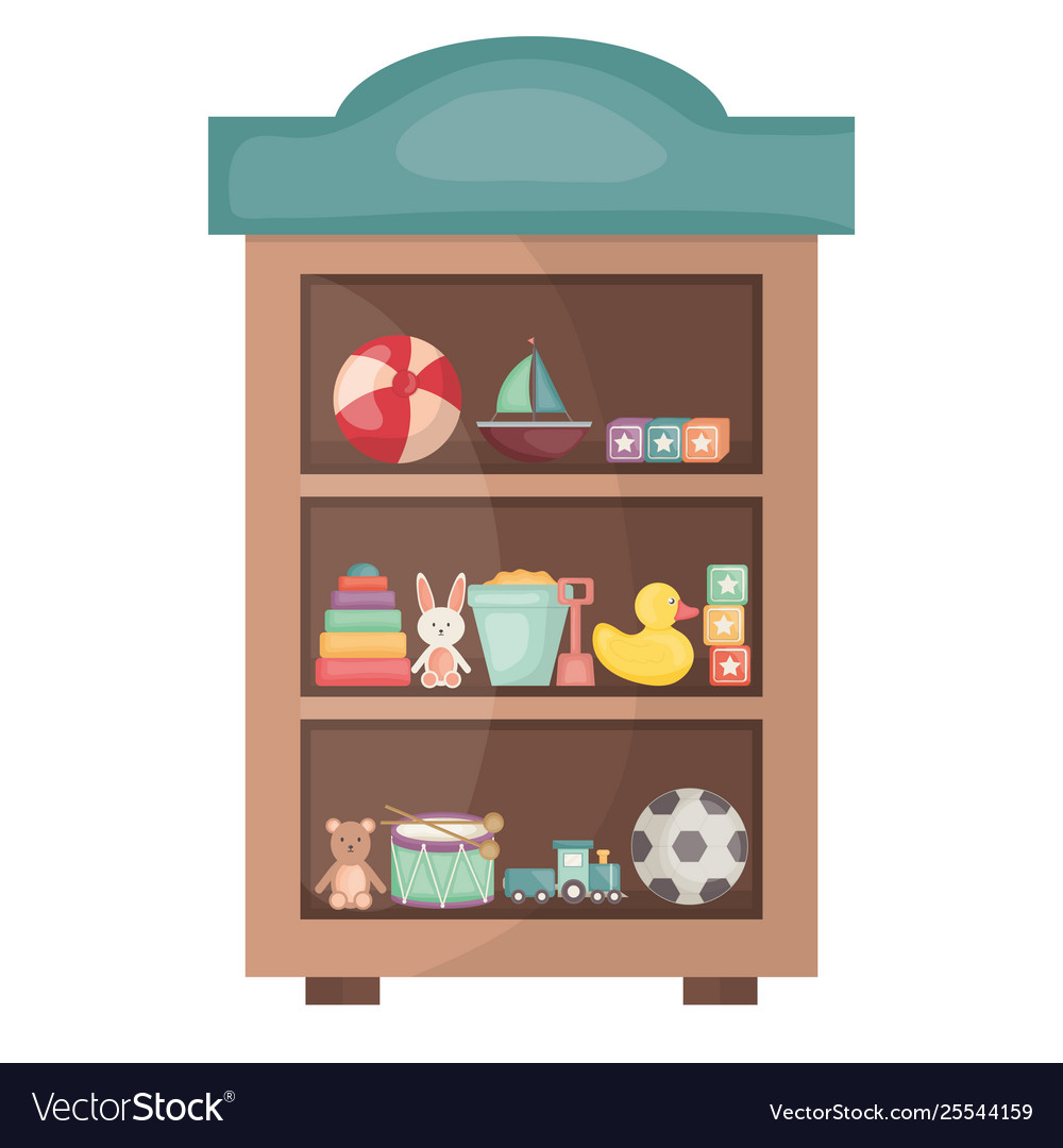 Wooden shelf with toys square frame and birthday