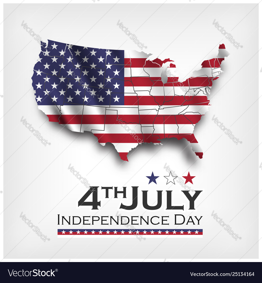 America map and waving flag independence day of