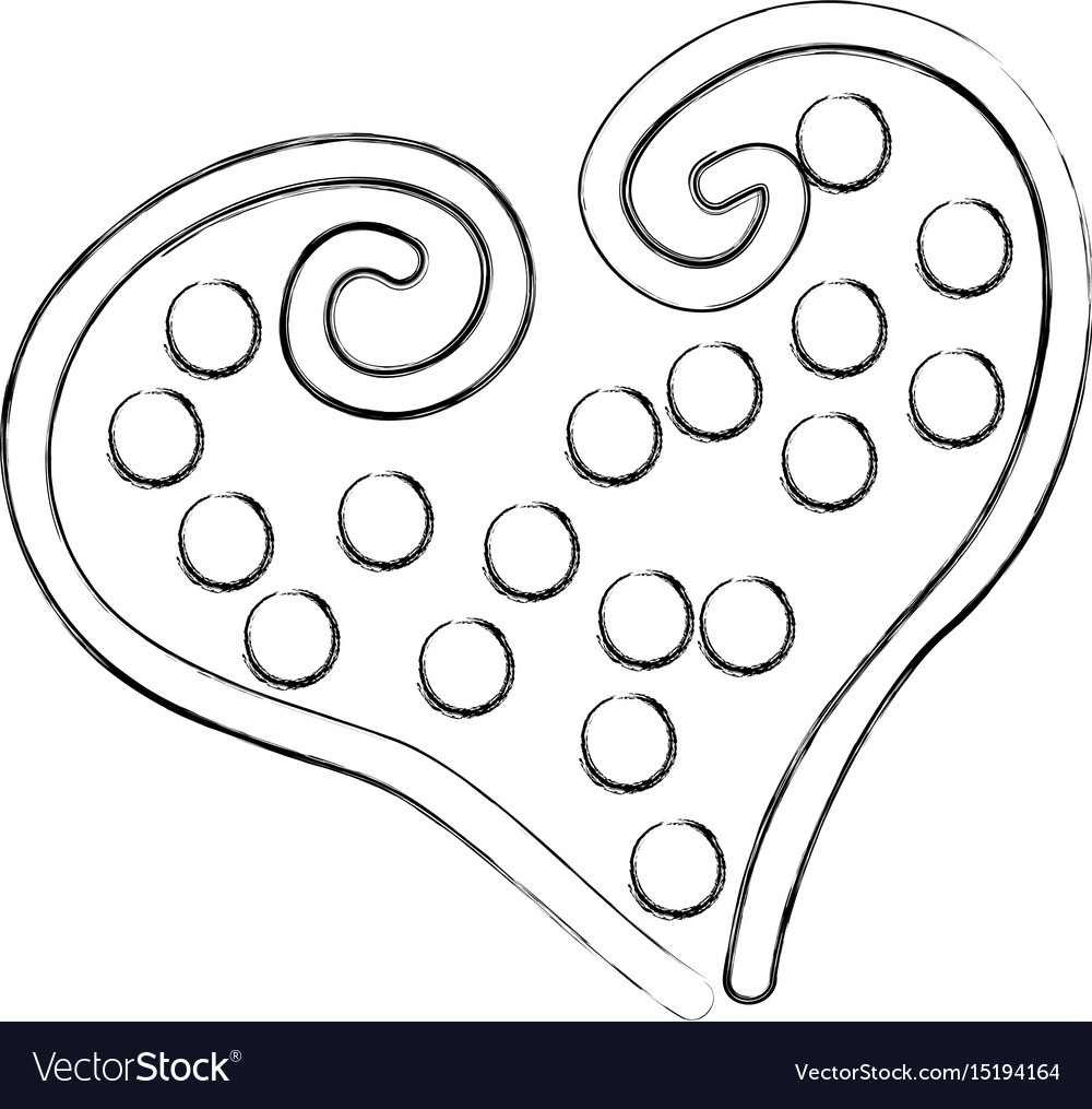 Beautiful heart dotted drawing icon Royalty Free Vector